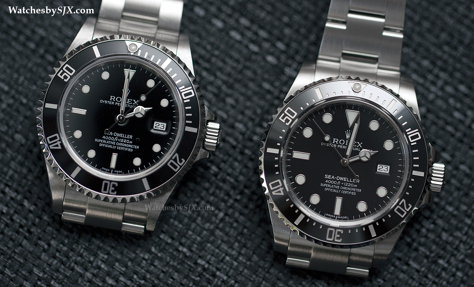 comparison rolex sea dweller 4000 refs 16600 vs 116600 with live photos sjx watches