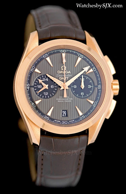 Omega-Aqua-Terra-Chronograph-GMT-red-gold-grey-dial-281291