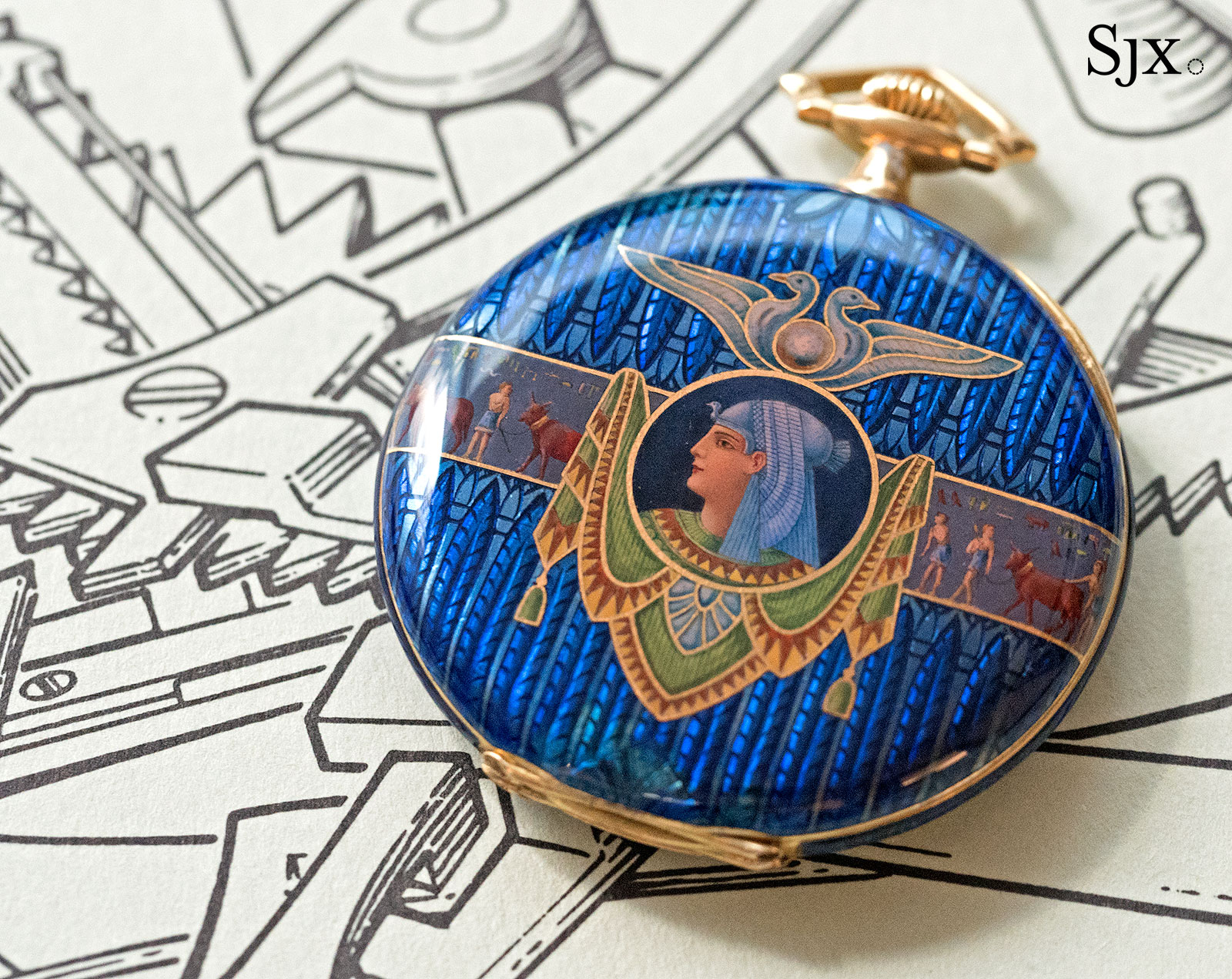 Phillips HKWA3 Patek Philippe enamel Egypt pocket watch 3