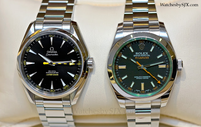 Comparing The Omega Seamaster Aqua Terra 15 000 Gauss And The Rolex Milgauss 116400gv With Live Photos Sjx Watches