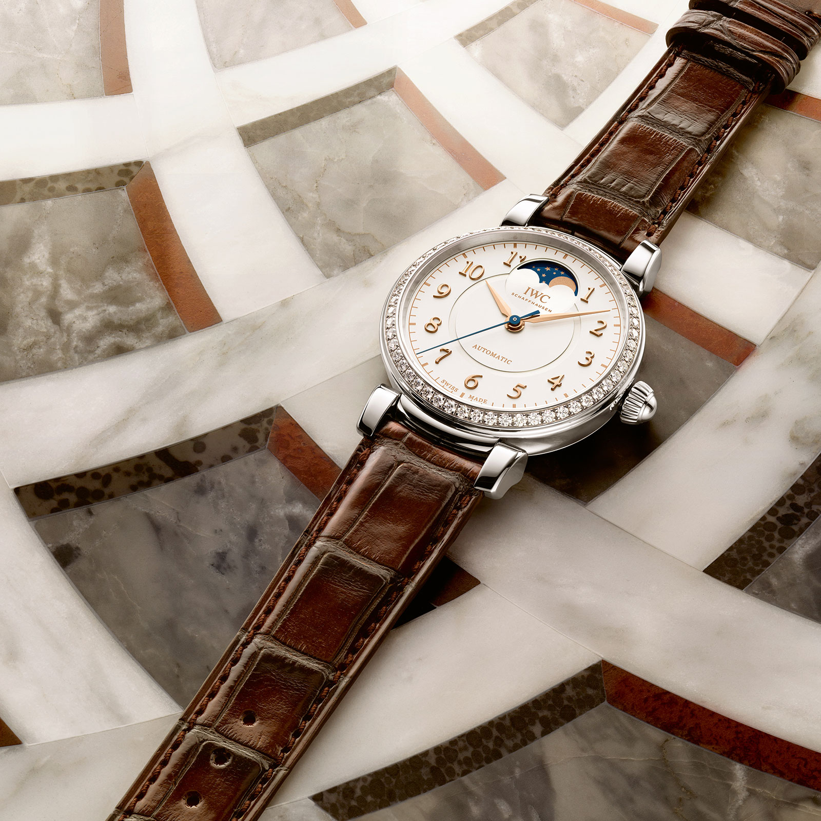 IWC Da Vinci Automatic Moon Phase 36 steel diamonds