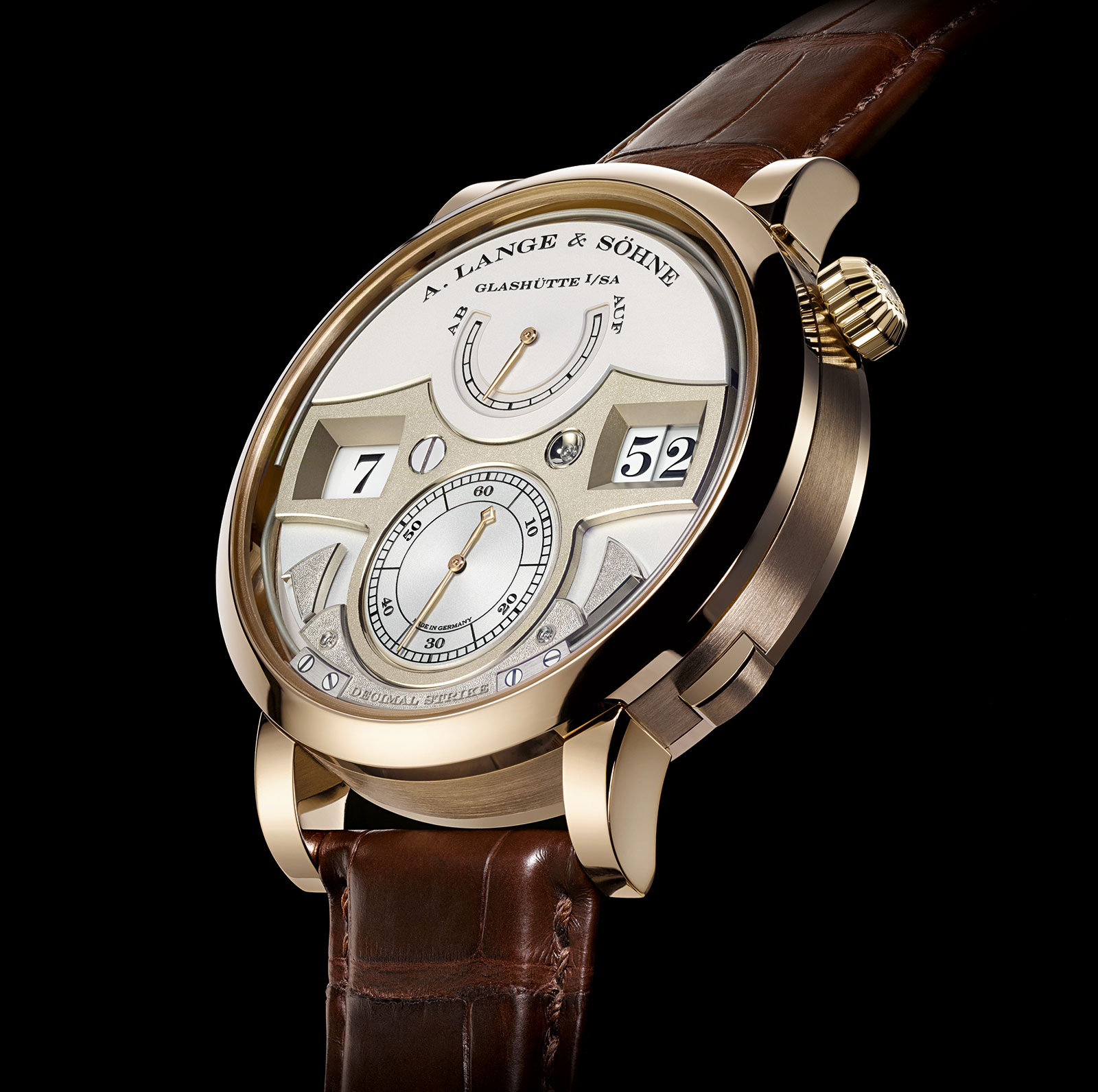 Lange Zeitwerk Decimal Strike honey gold 2