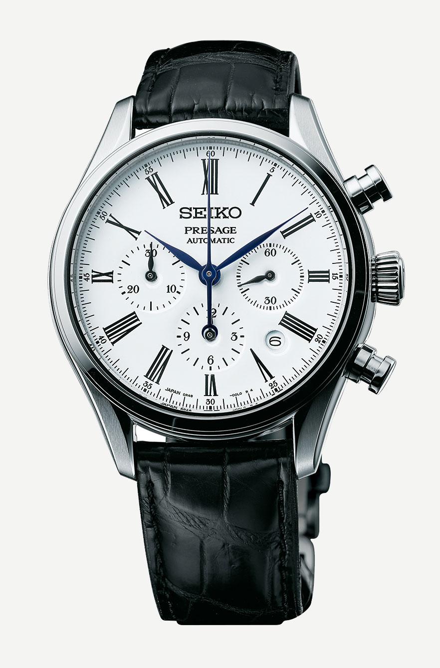 Seiko Presage enamel chronograph SRQ023