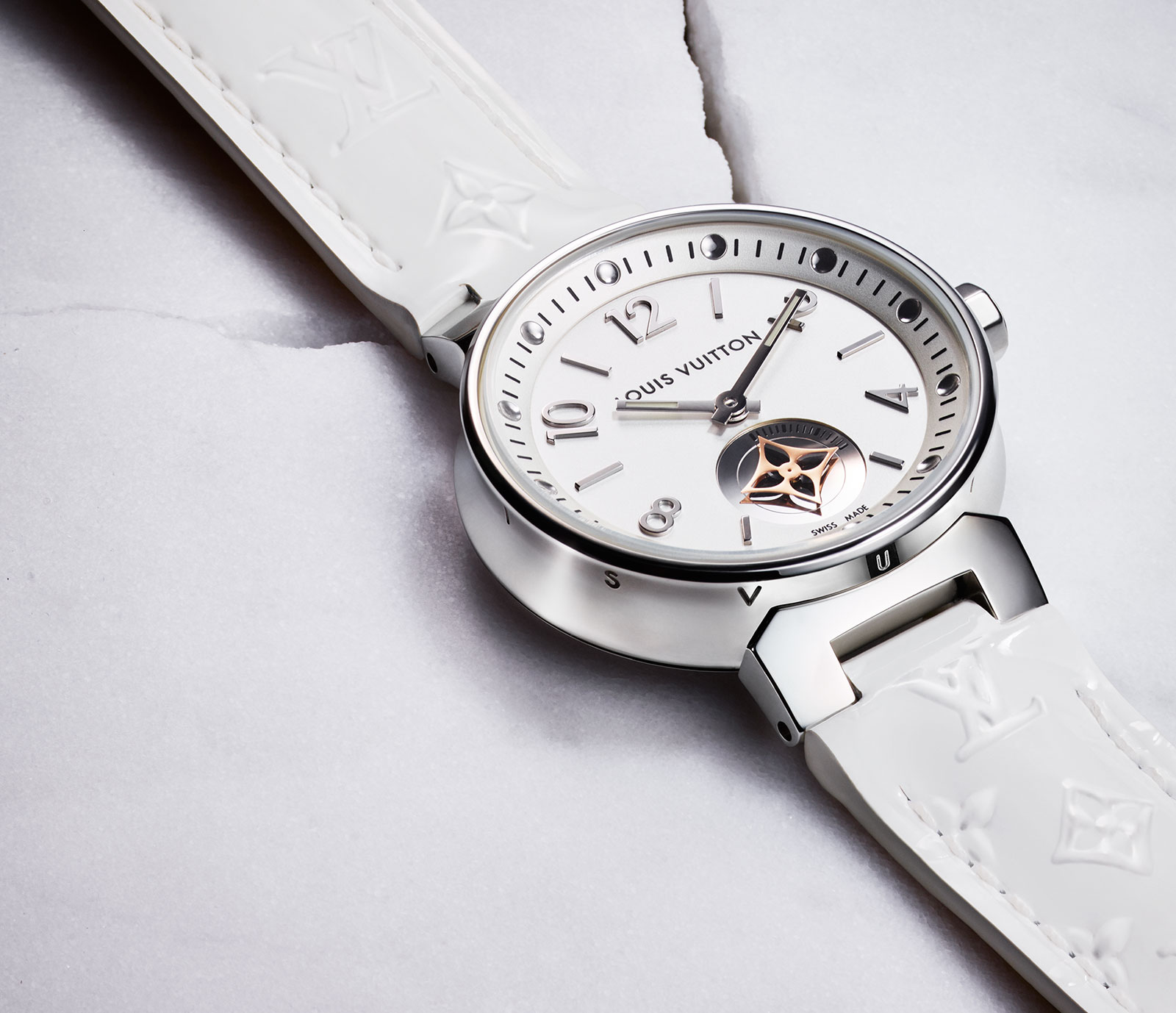 Louis Vuitton Tambour-Moon-Star-Seconde-White