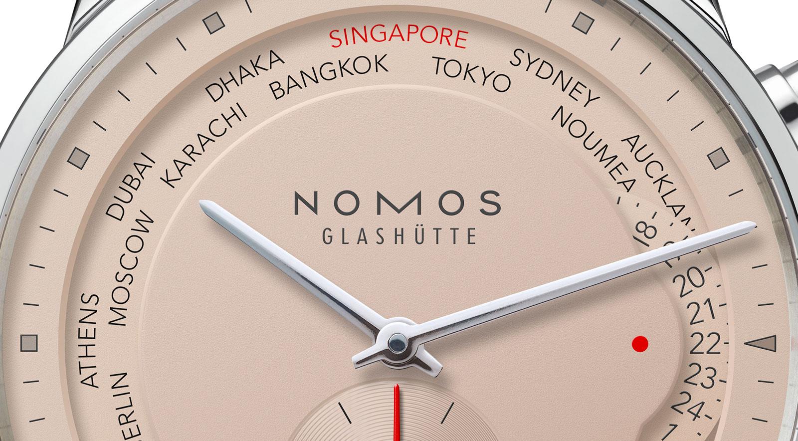 Nomos Zürich Weltzeit Singapore Edition salmon 1