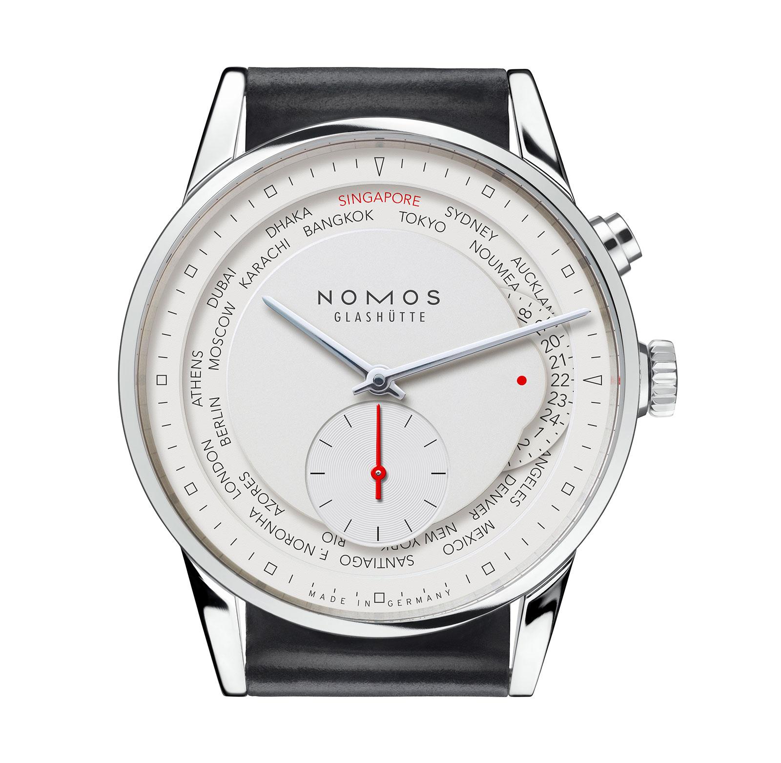 Nomos Zurich World Time Singapore edition white dial