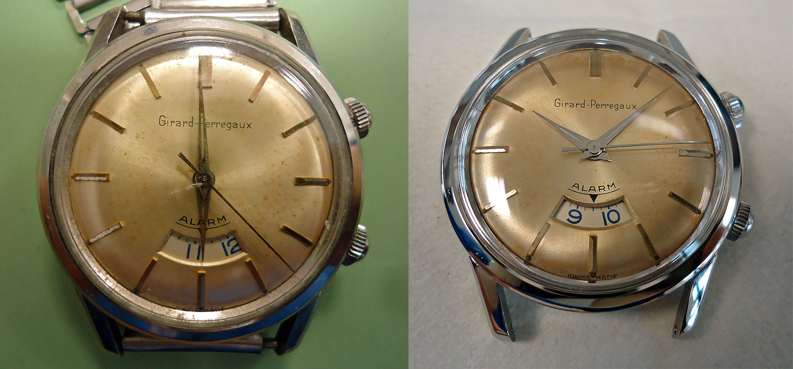 Girard Perregaux alarm restoration before after