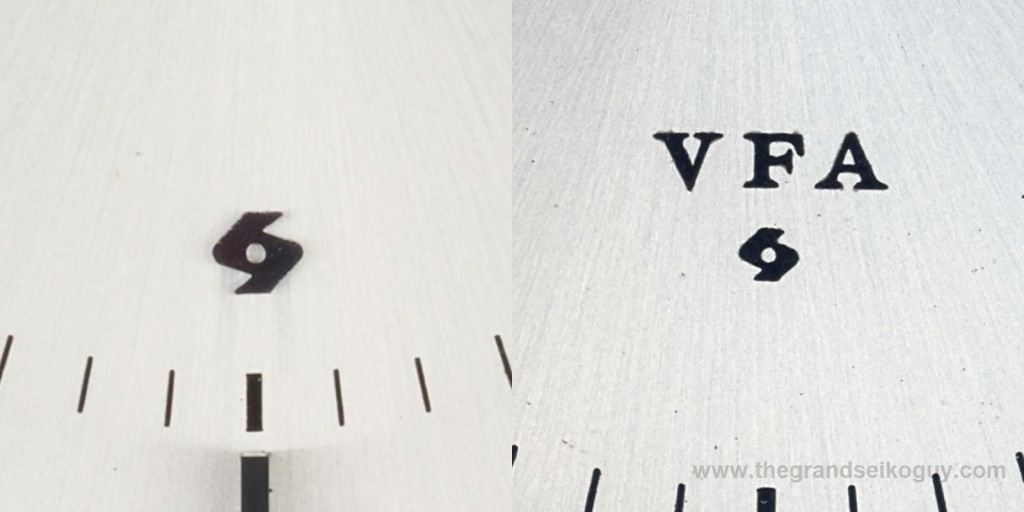 Grand Seiko 6185 030 versions - applied Suwa Seikosha logo on the 6185A calibre (left) and printed VFA and Suwa Seikosha logo on the 6185B calibre (right)