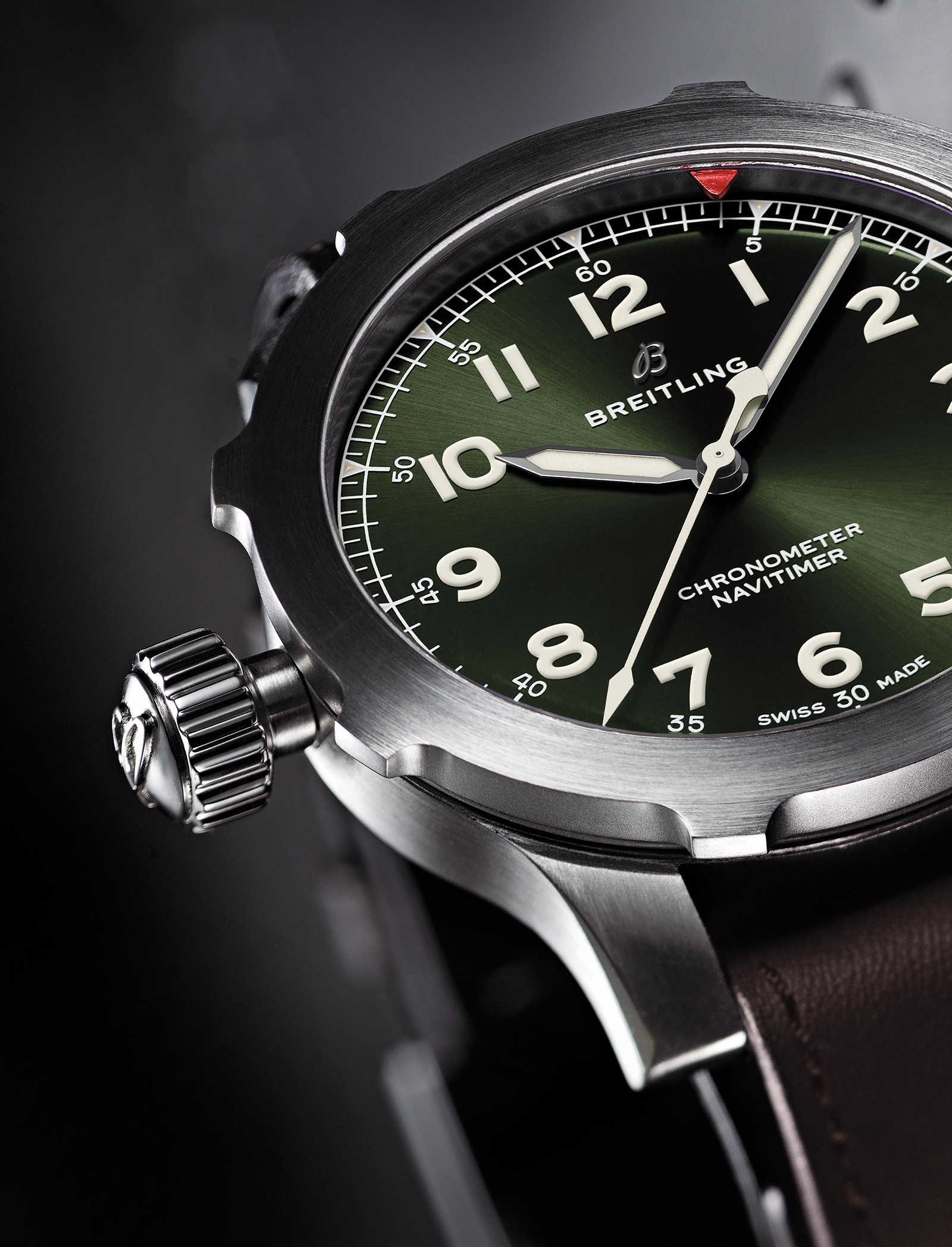 Navitimer Super 8 in titanium with Military green dial and brown Nato leather strap