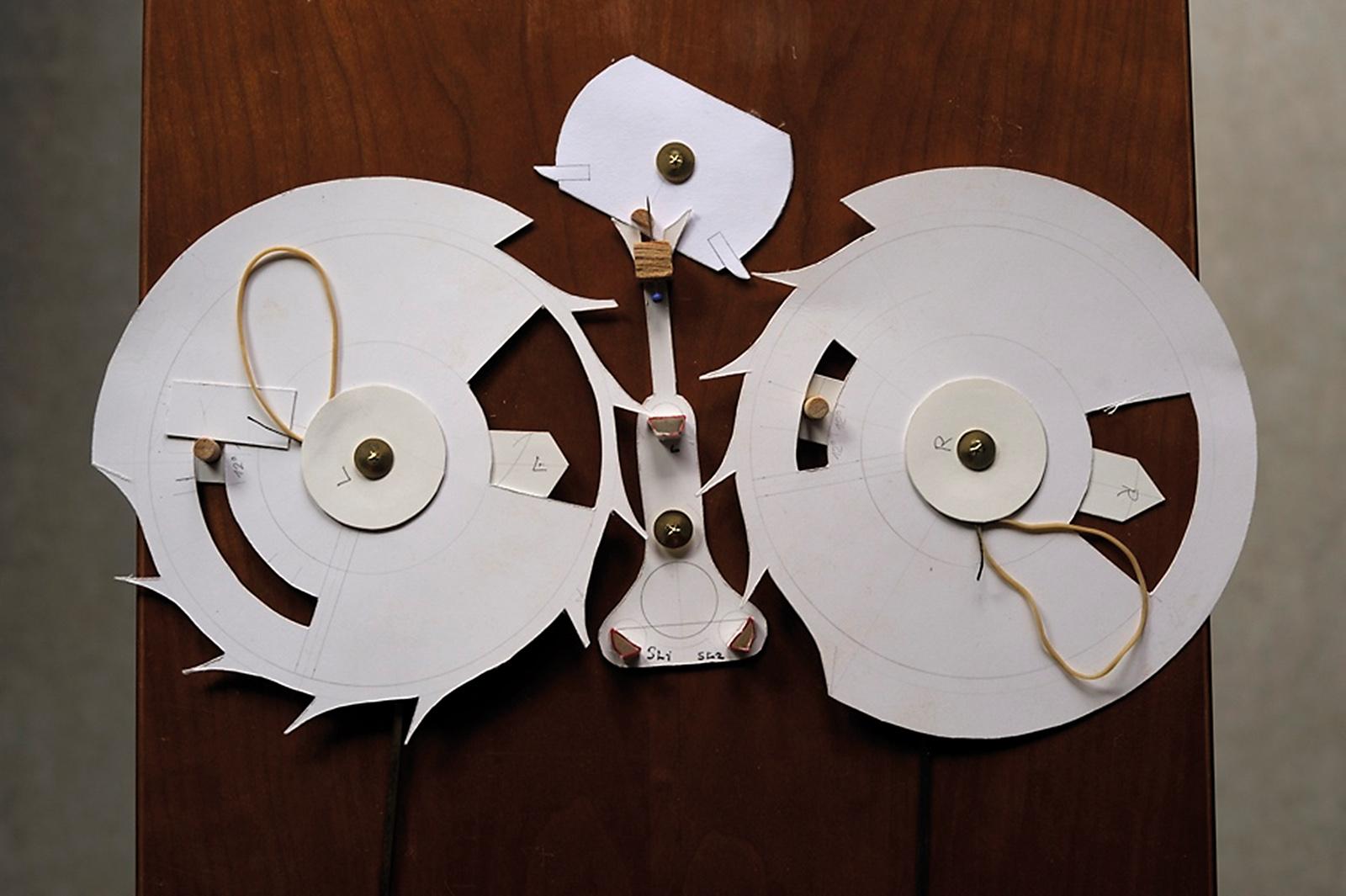 Derek Pratt's working model of the double-wheel remontoir escapement
