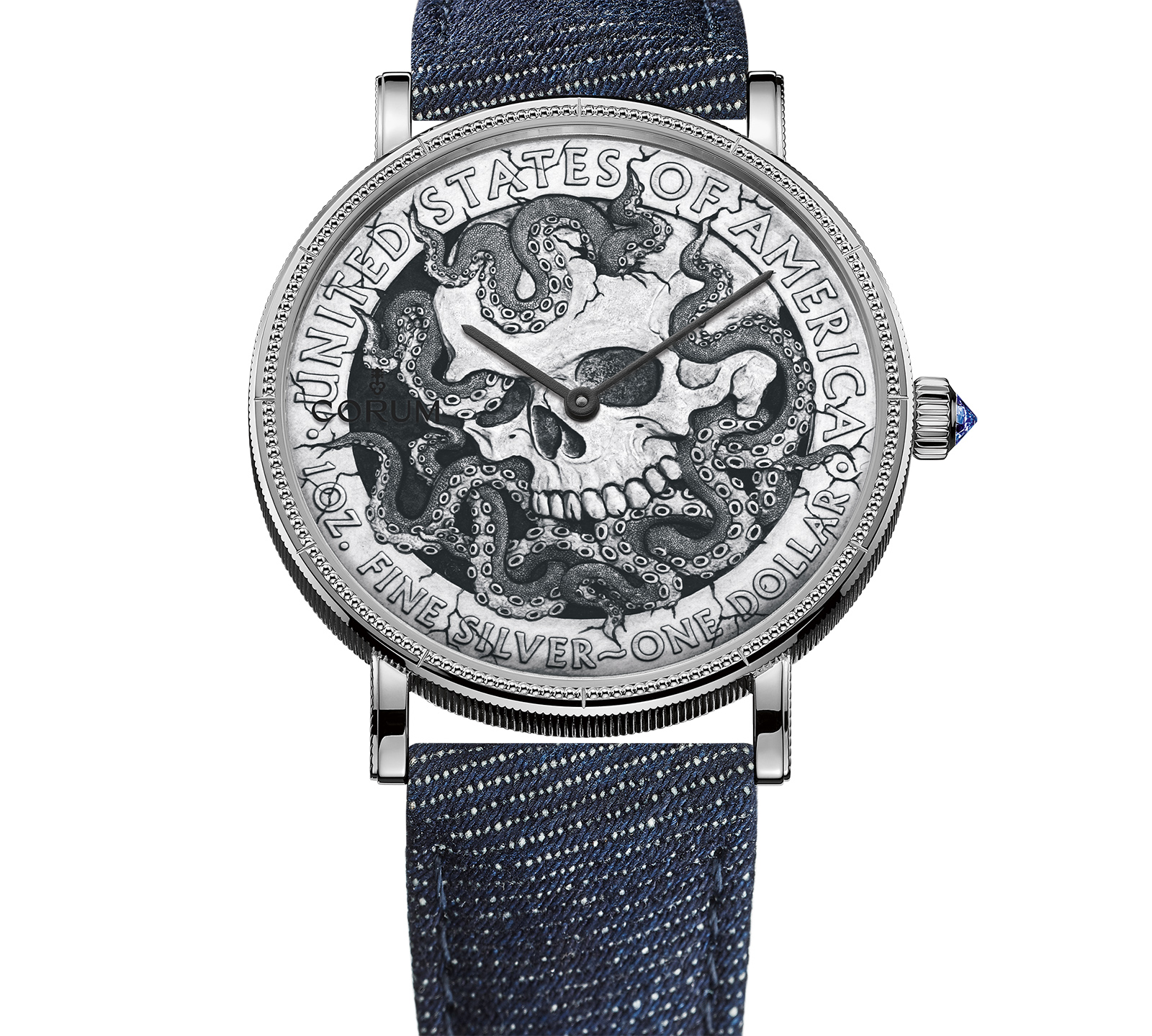 272b72de2f Each Corum Hobo Coin Watch features a certain depiction of a skull,  micro-engraved on a U.S. silver dollar. The coin is split, with the two  halves ...