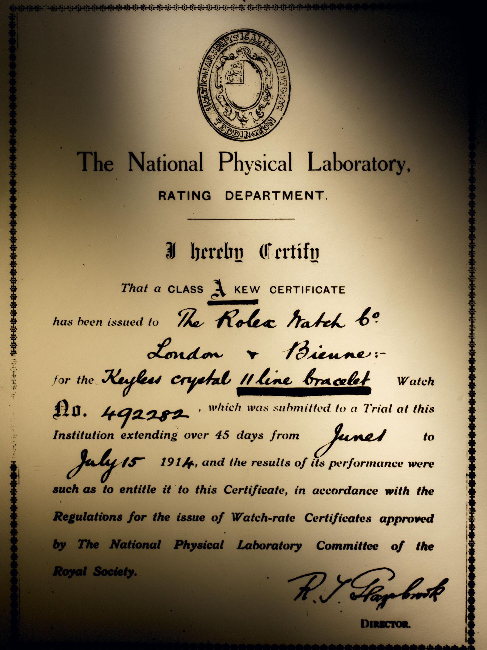 Rolex Kew A certificate 1914
