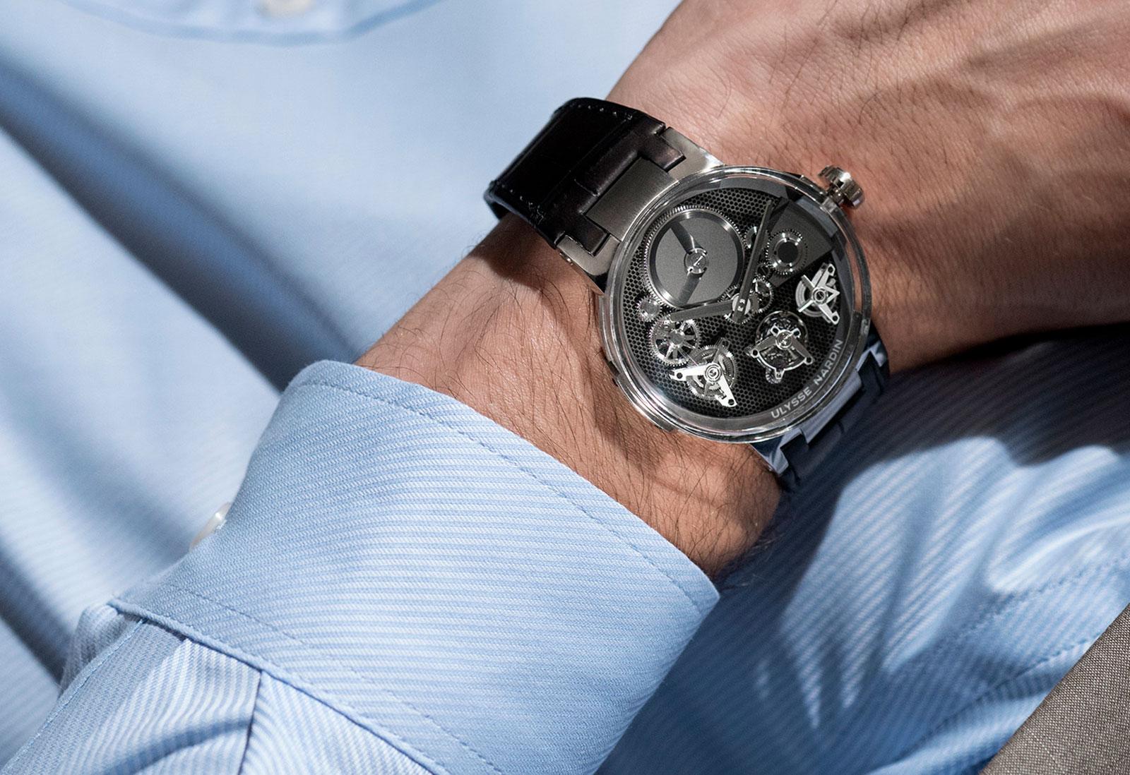 Ulysse Nardin Executive Tourbillon Free Wheel wrist shot