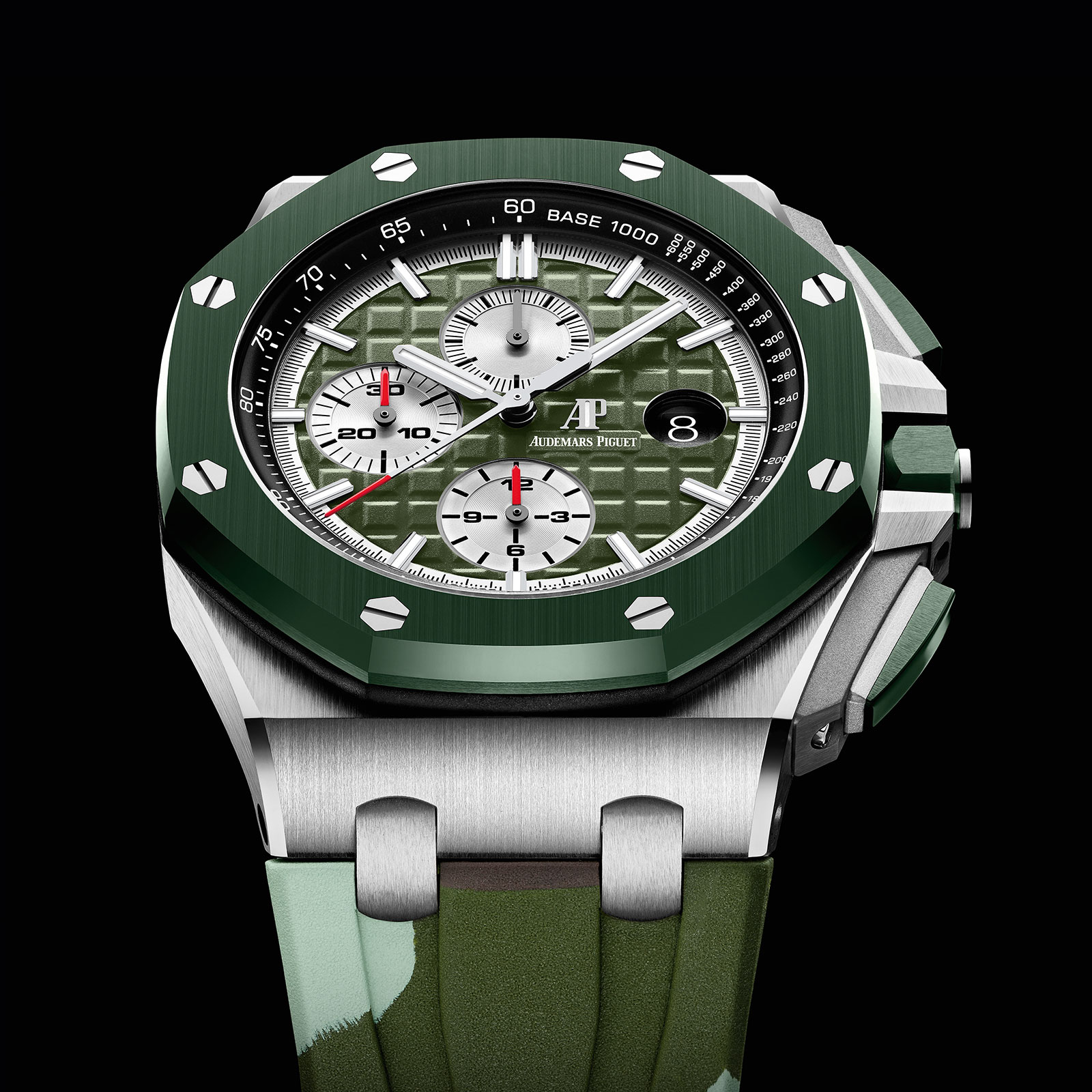 Sihh 2019 introducing the audemars piguet royal oak offshore chronograph camo sjx watches for Royal oak offshore vampire