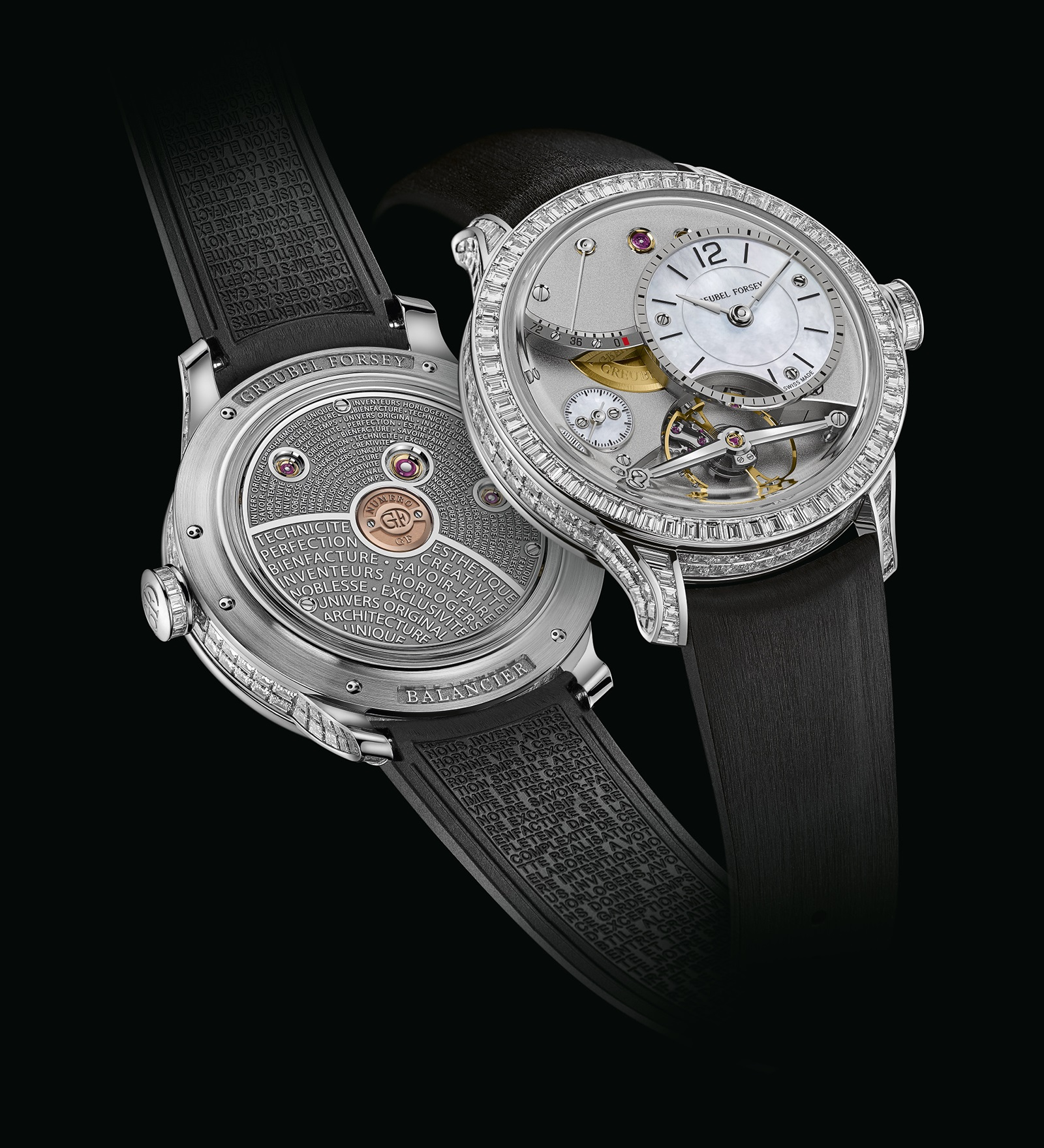 Diamond Set Balancier Contemporain, with invisible set baguette-cut diamonds across the case, bezel and crown.
