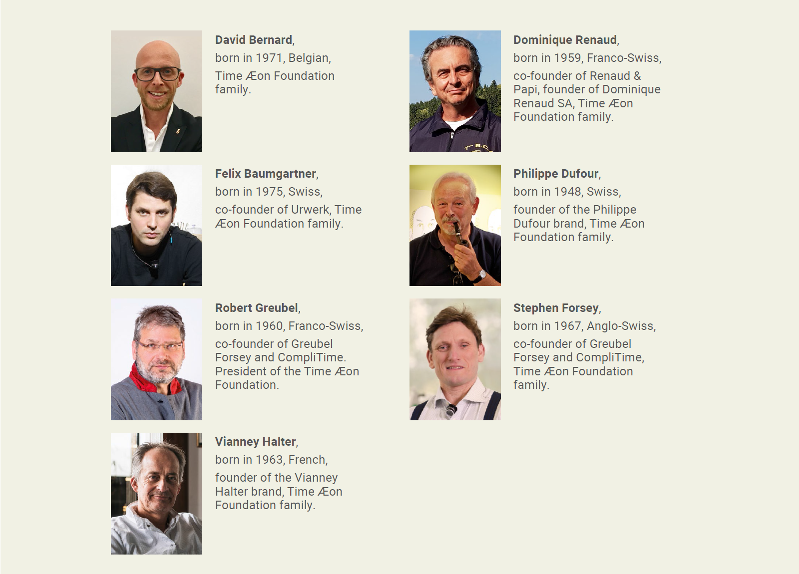 Current active members of the Time Æon Foundation