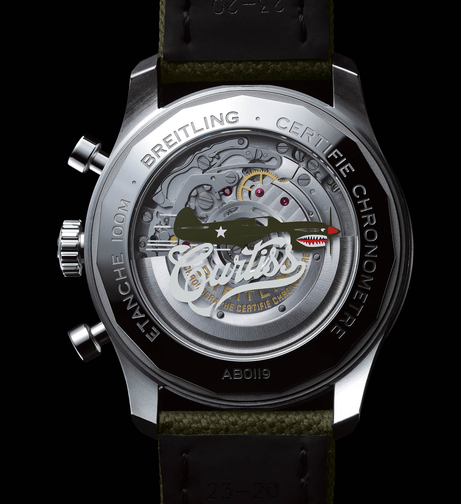 Caseback of the Aviator 8 B01 Chronograph 43 Curtiss Warhawk