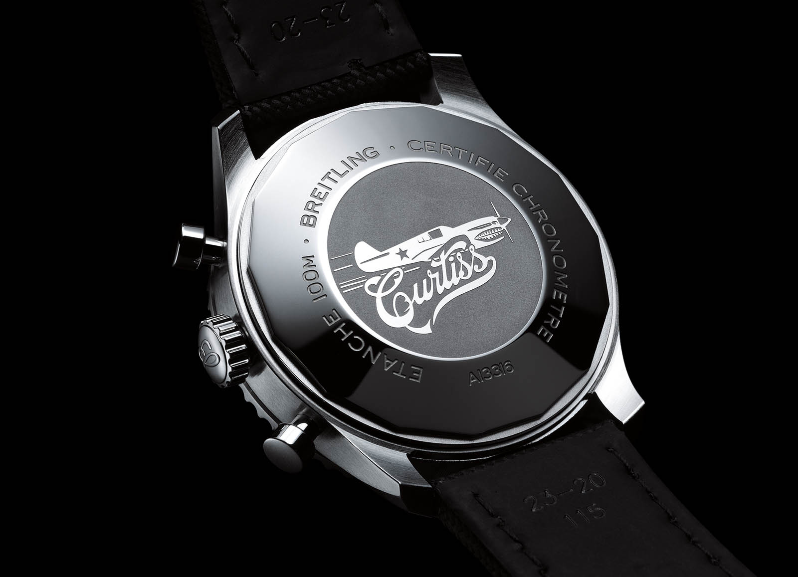Caseback of the Aviator 8 Chronograph 43 Curtiss Warhawk