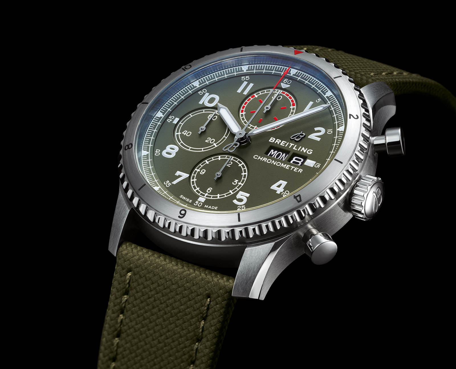 Aviator 8 Chronograph 43 Curtiss Warhawk with military green dial and strap