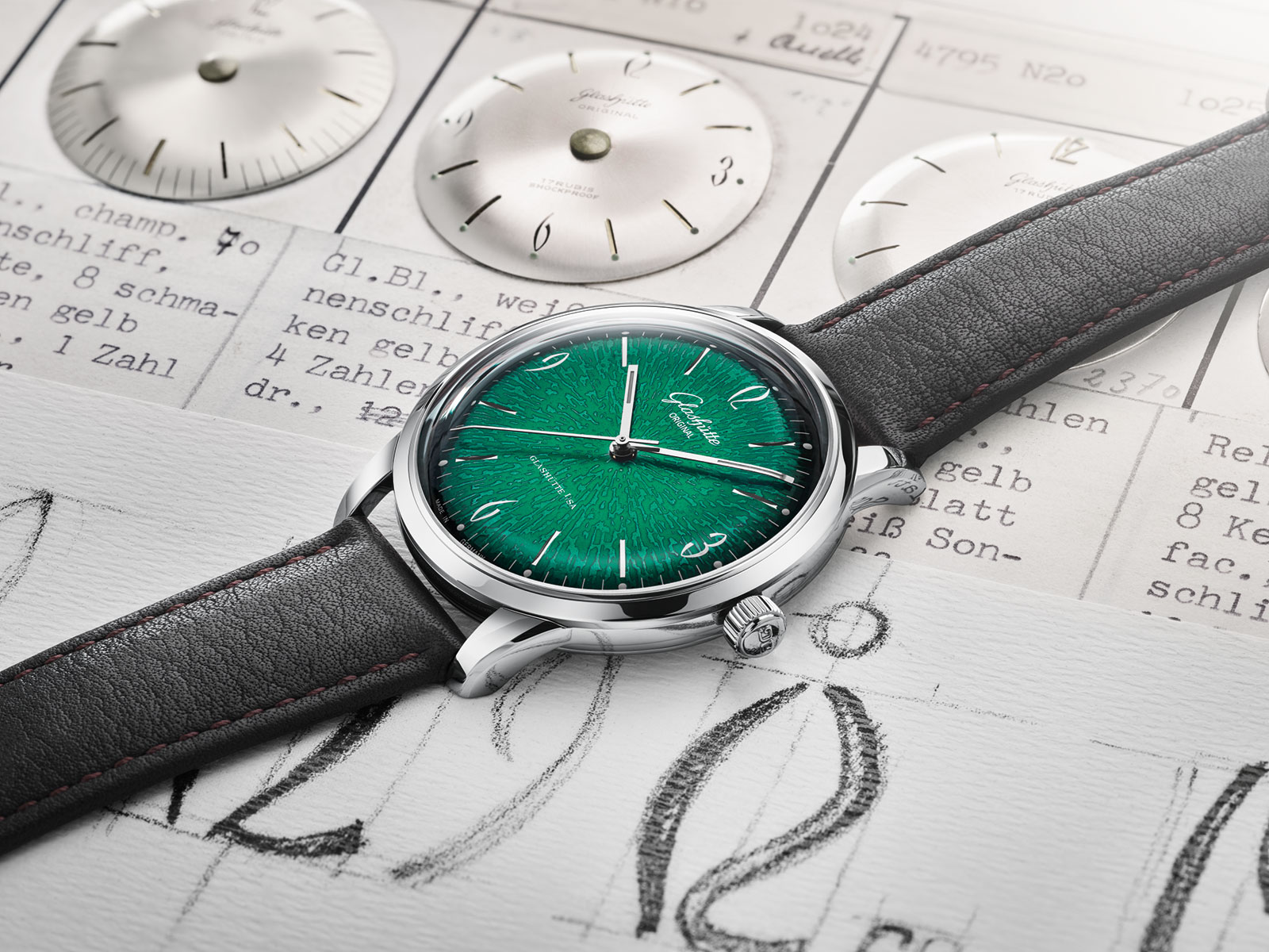 Glashutte Original Sixties Annual Edition Green vintage dials