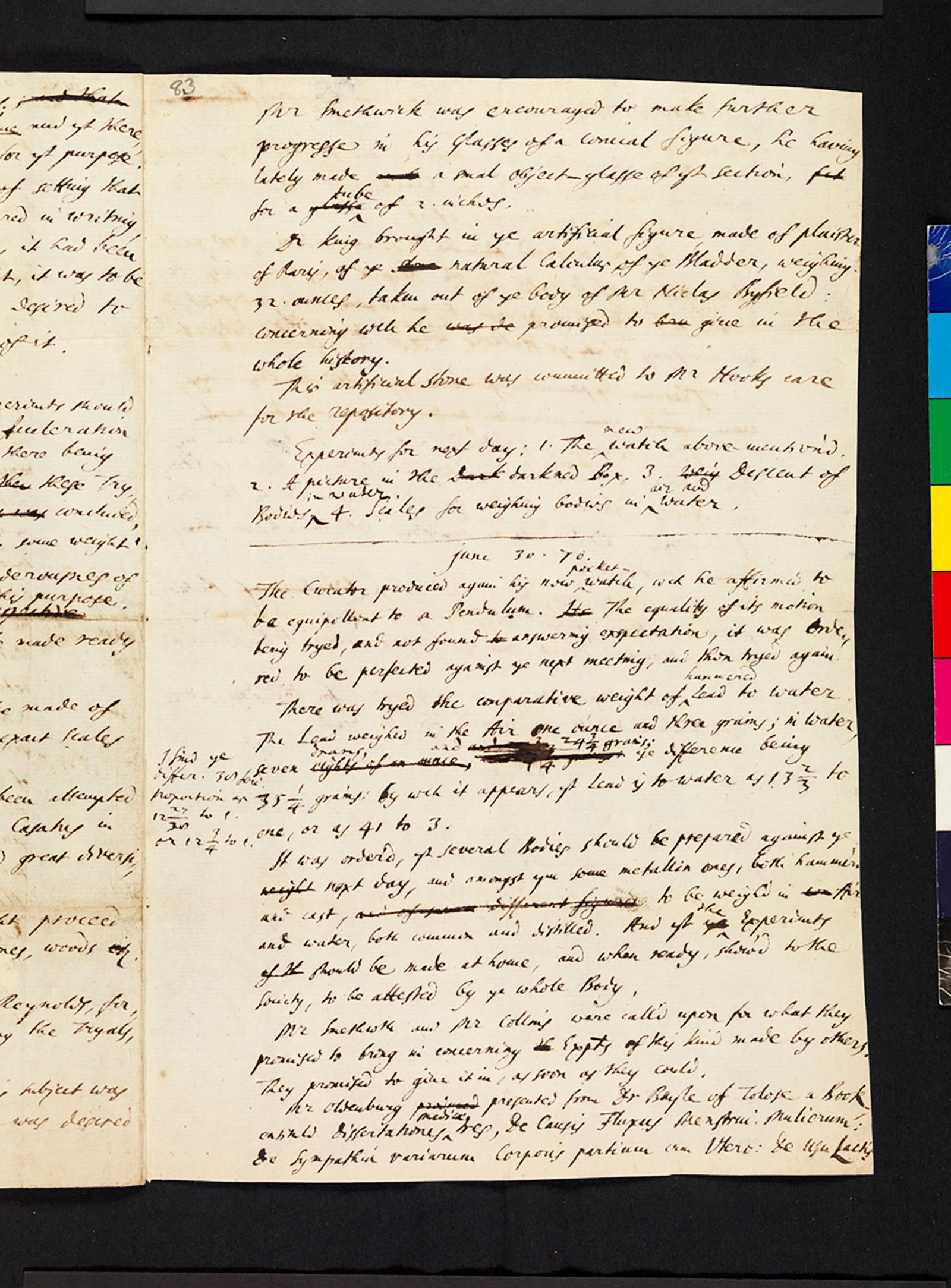 Hooke folio 1670 minutes 1