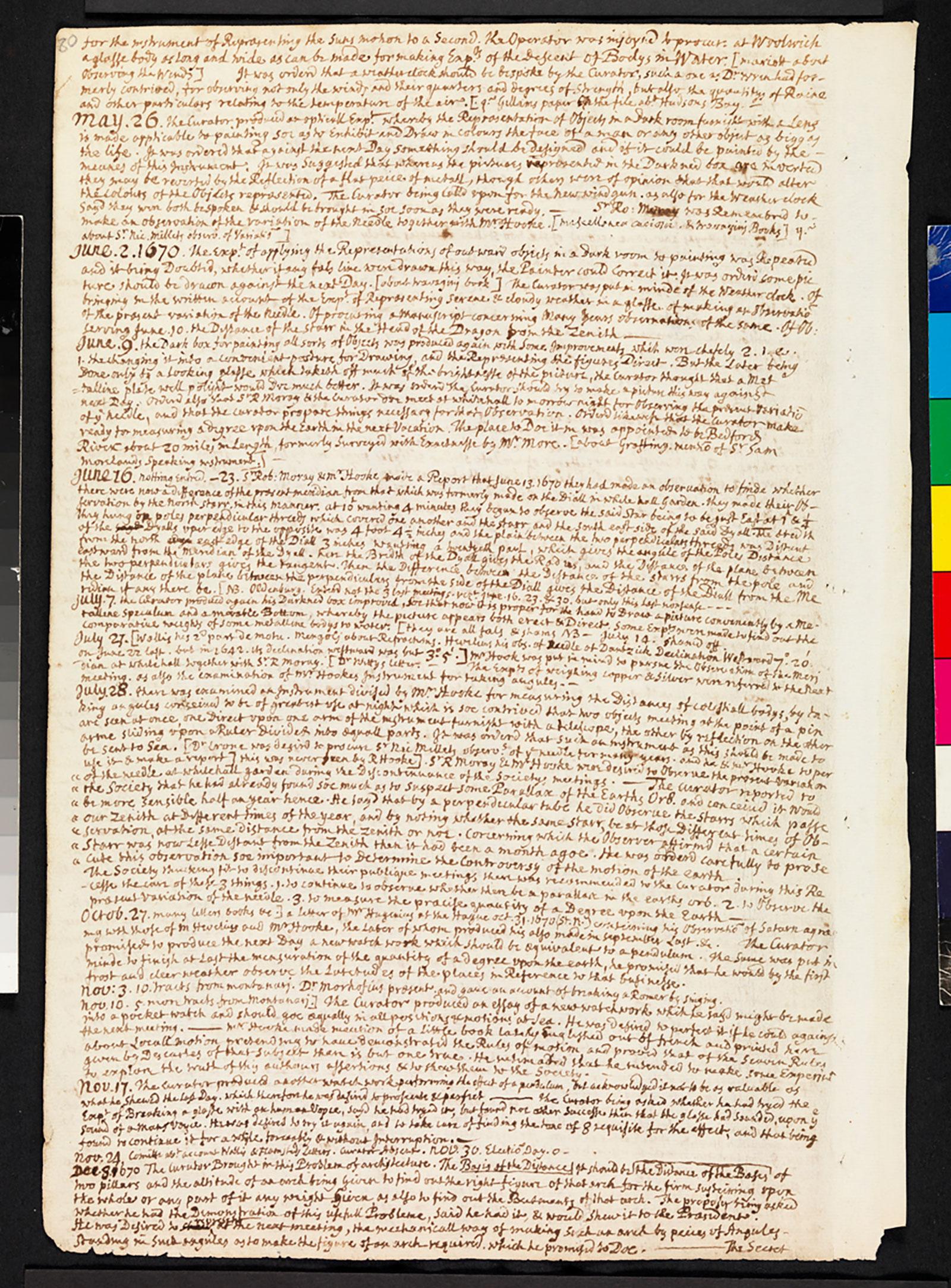 Hooke folio 1670 minutes