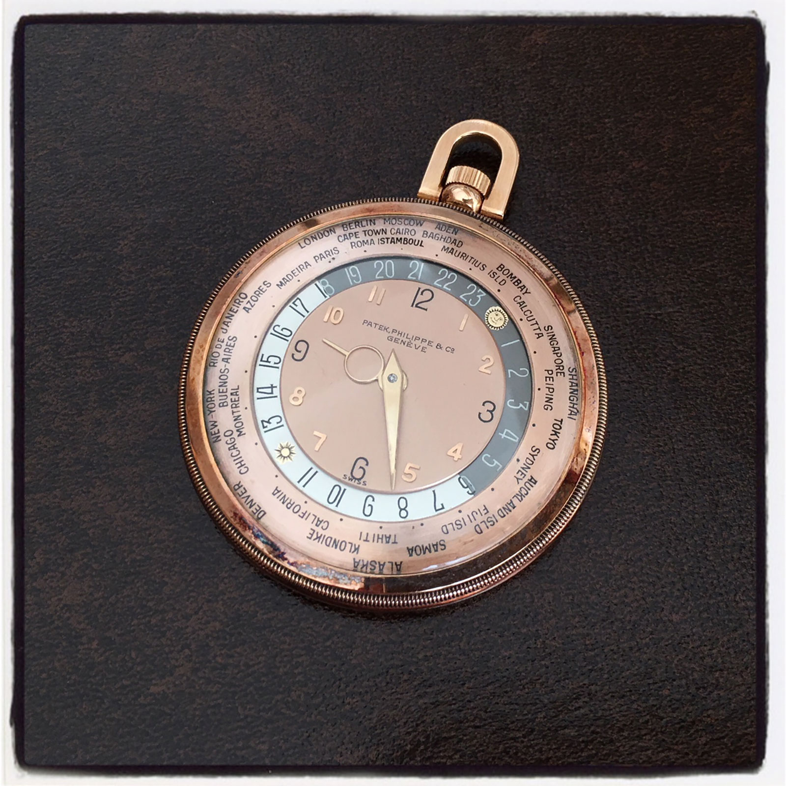 Patek Philippe world time pocket watch 605HU pink