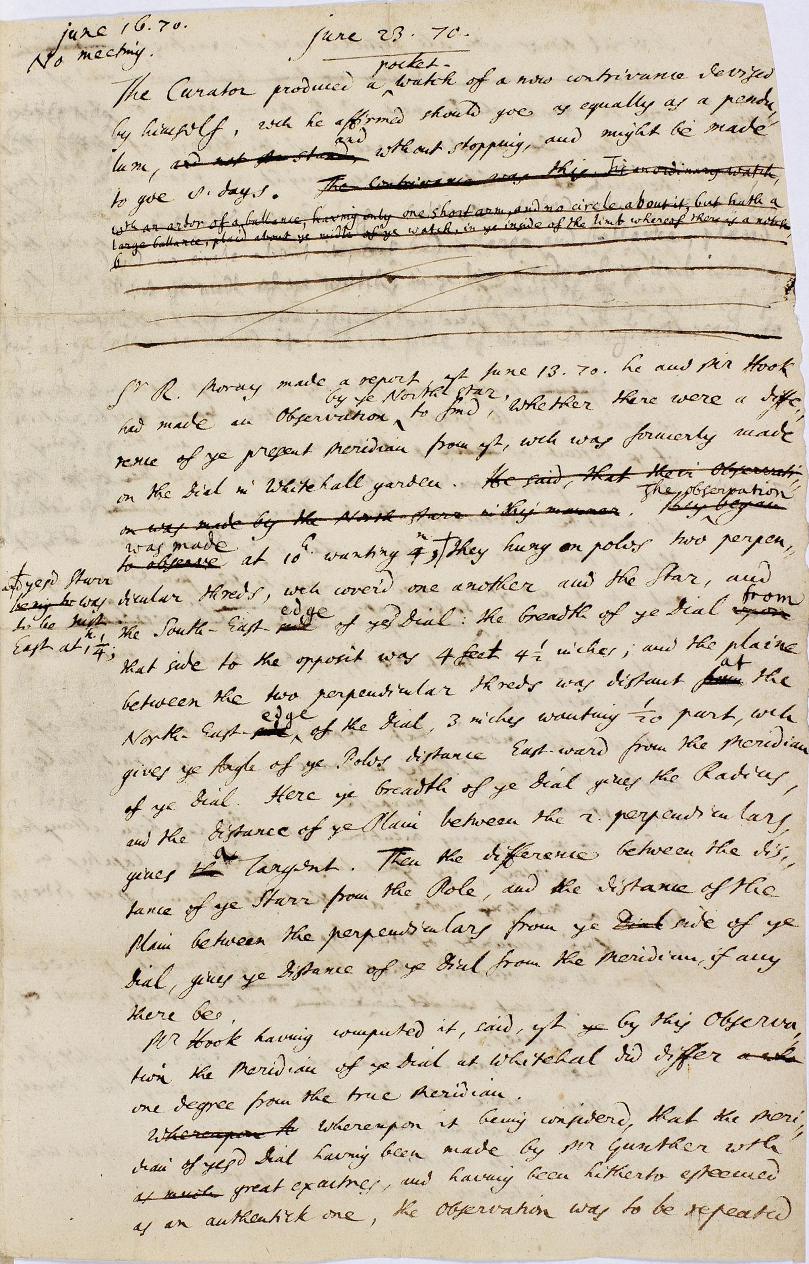 Rober Hooke folio June 23 1670