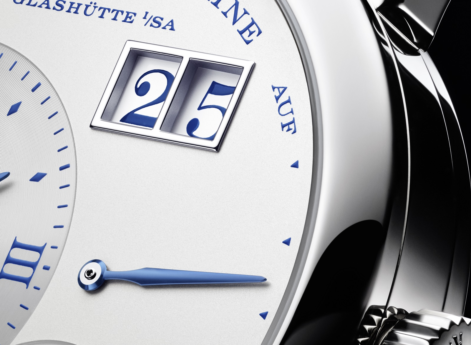 A Lange & Sohne Little Lange 25th Anniversary dial close up