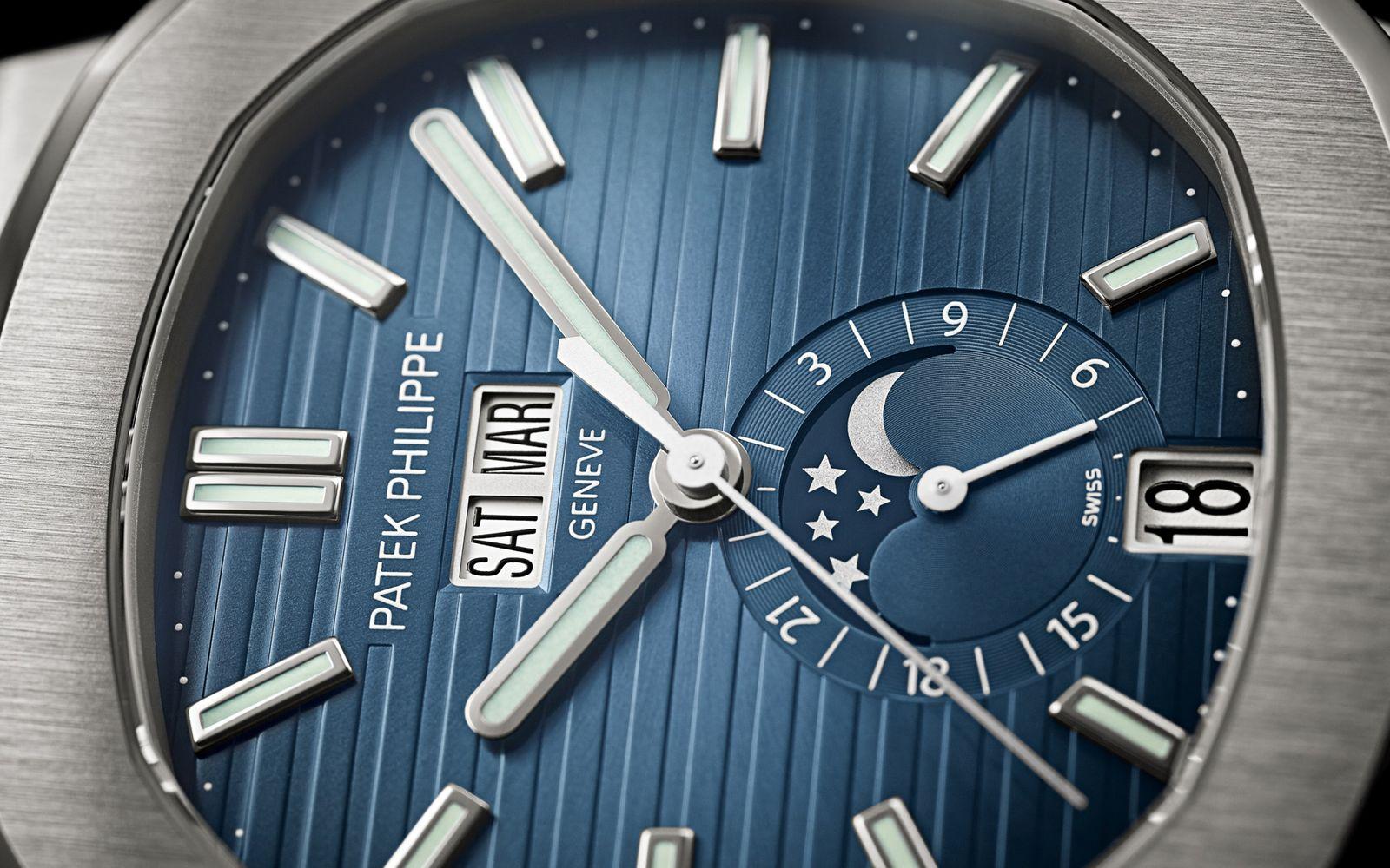 Patek Philippe Nautilus Ref 5726-1A Dial close up