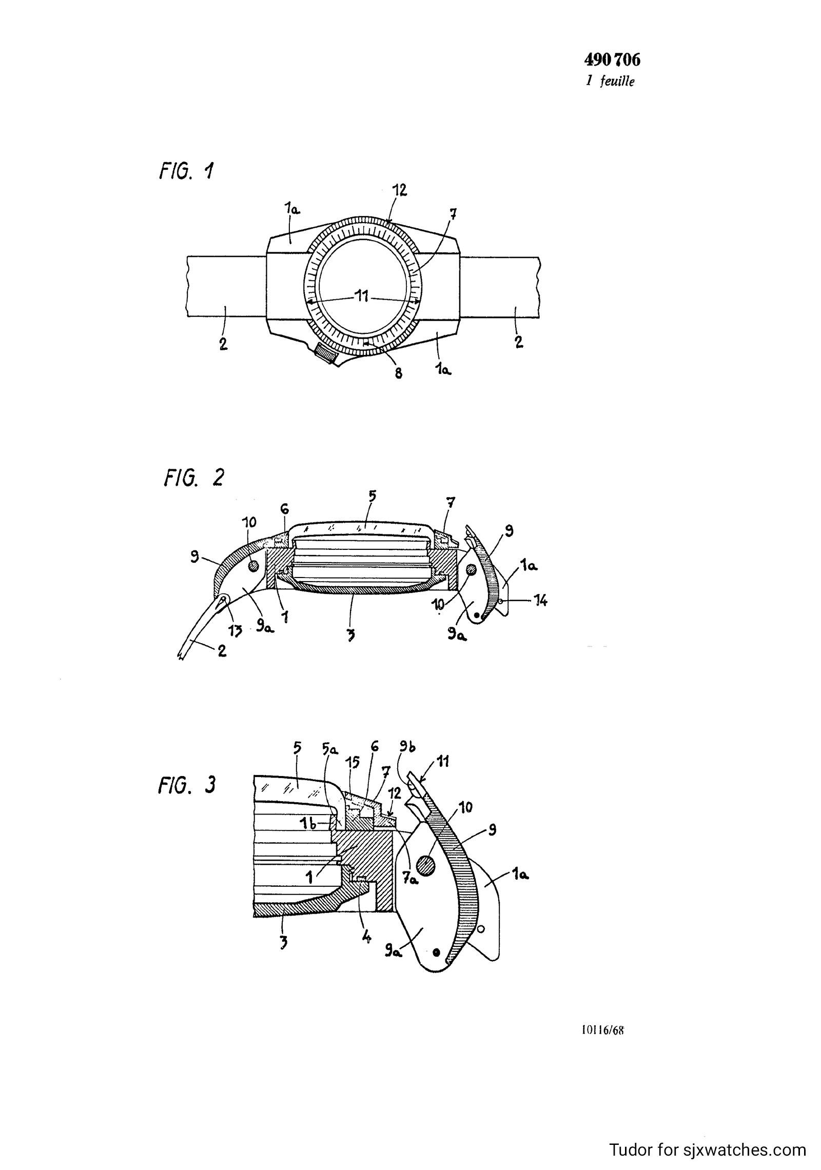 Tudor P01 Rolex patent C490706 diagram