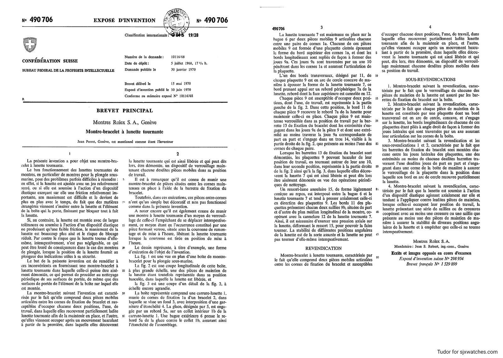 Tudor P01 Rolex patent C490706