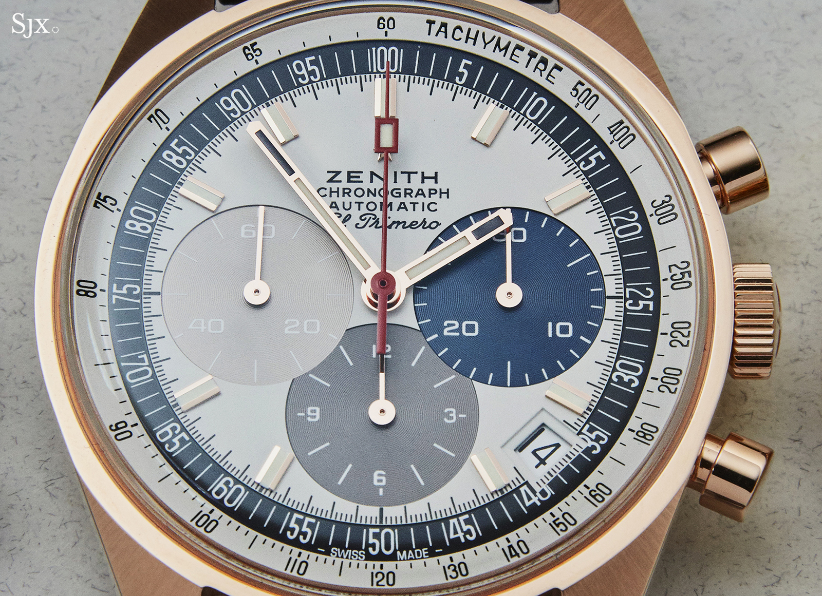 Zenith El Primero A386 Rose gold dial close up