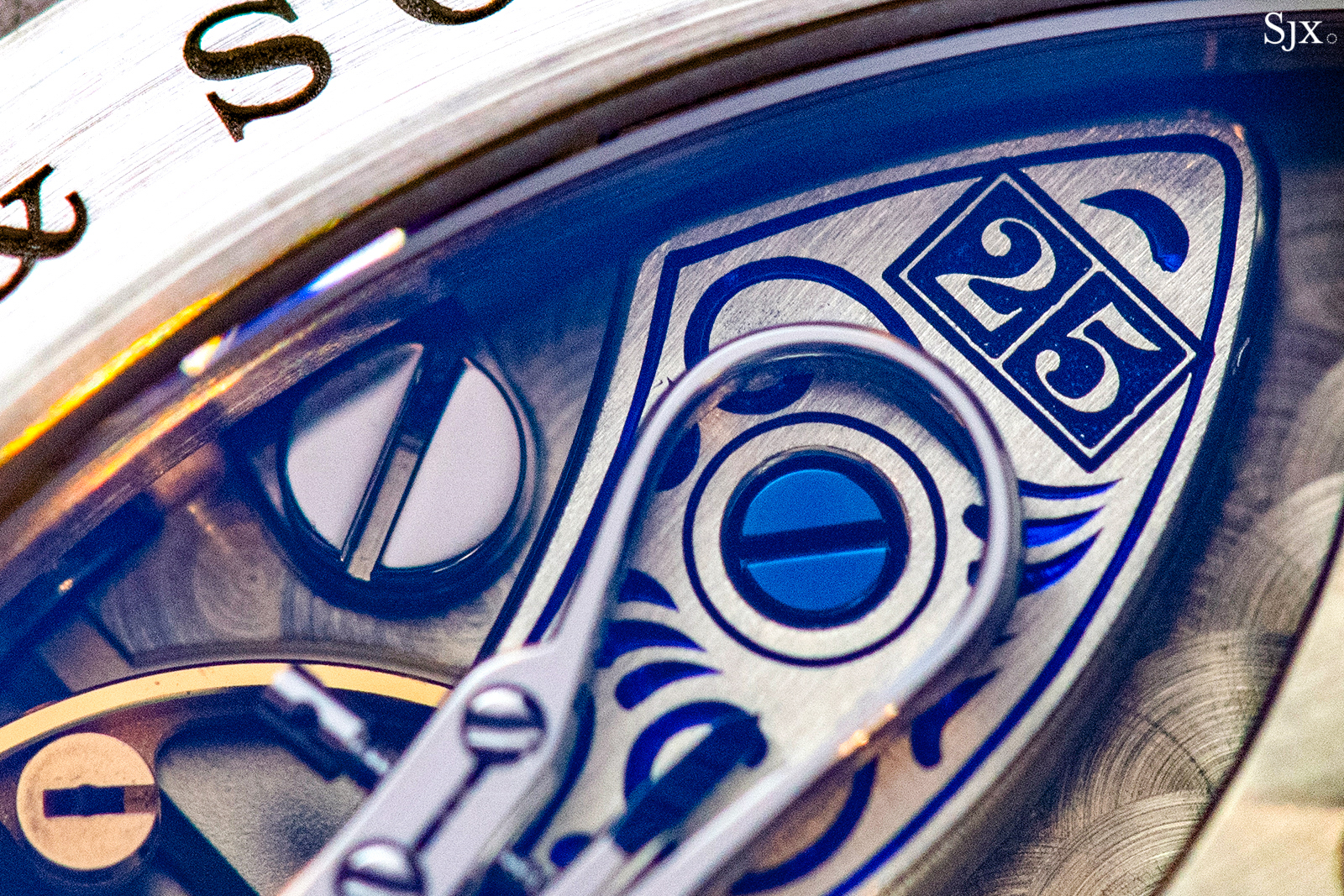 Lange 1 25th Anniversary engraved balance cock close up