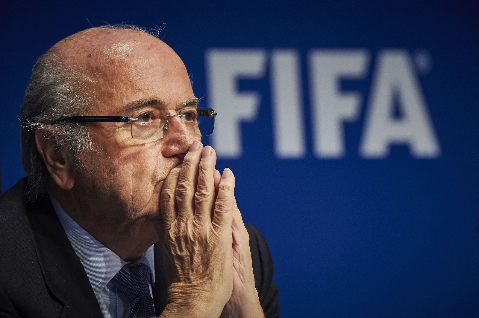 Sepp Blatter in 2015 at a FIFA conference. Credit: AFP Photo/Michael Buholzer/Getty Images