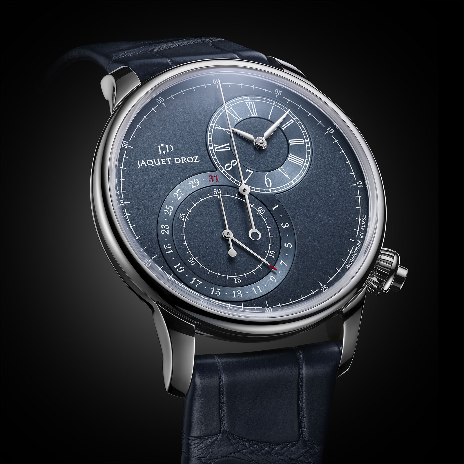jaquet droz grande seconde chronograph blue