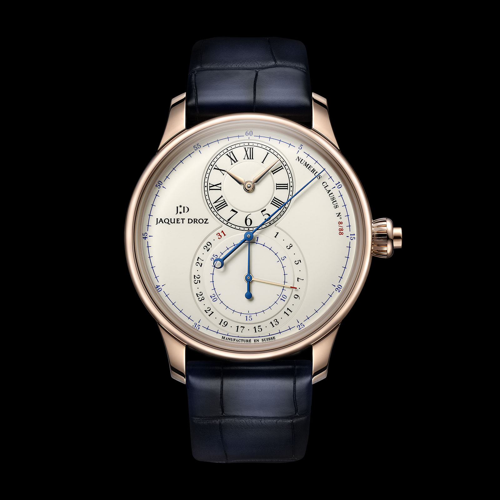 jaquet droz grande seconde chronograph red gold