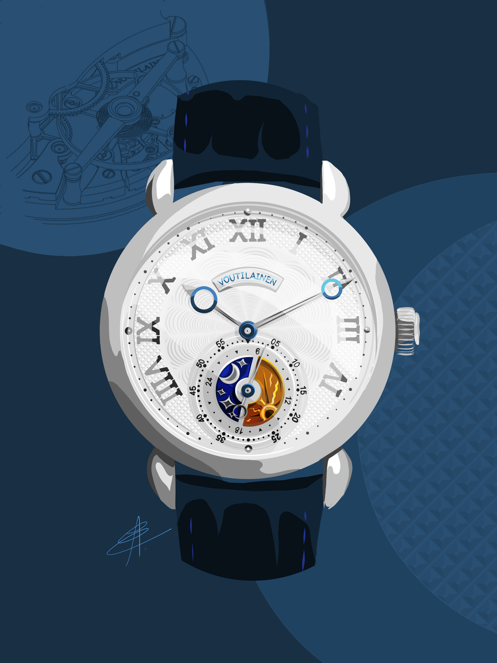 Watch art featuring the Kari Voutilainen GMT 6 by Alex Eisenzammer/@watchoniste, commissioned by the writer