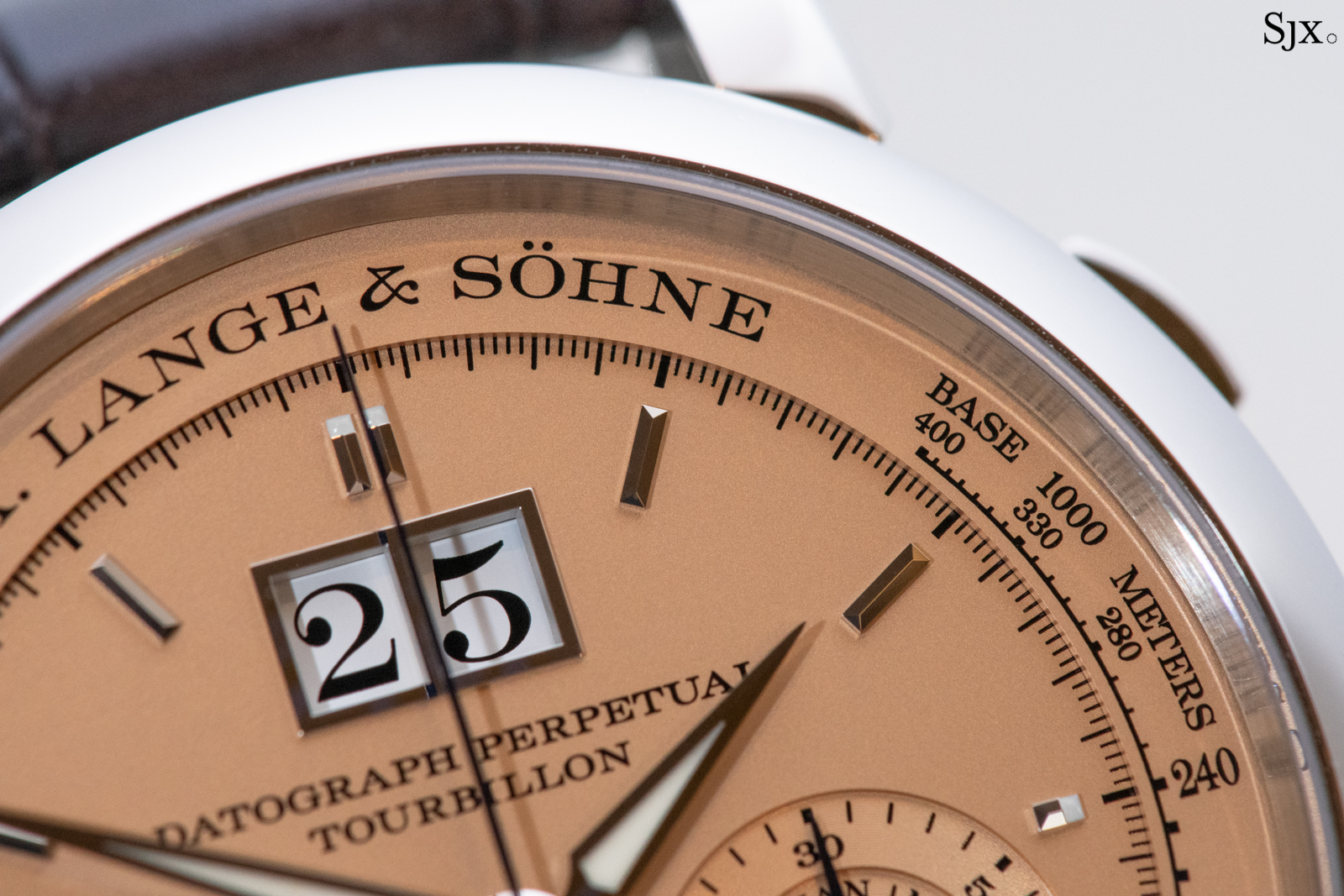 A. Lange & Söhne Datograph Perpetual Tourbillon Pink Gold dial close up 4