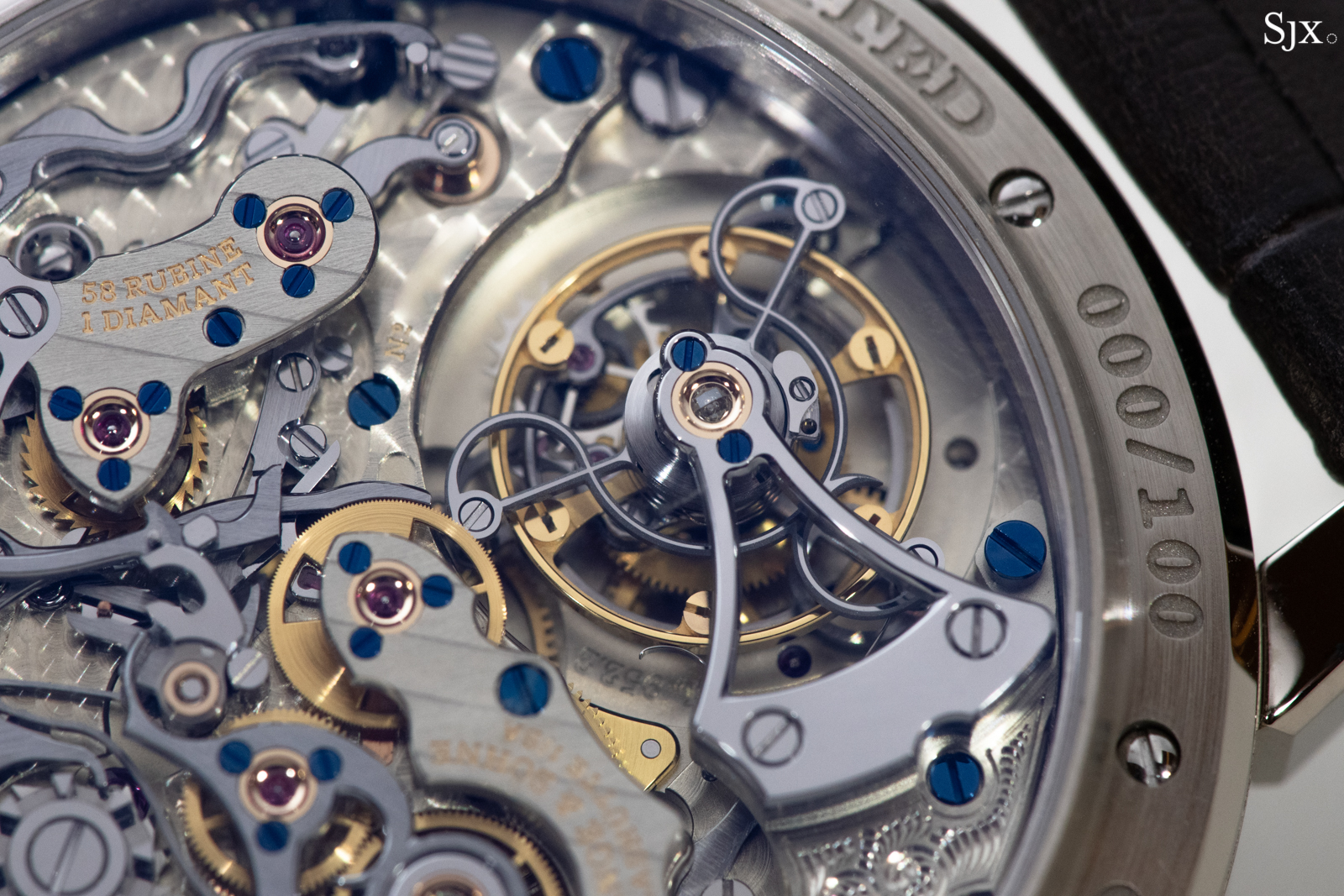 The large tourbillon cage, with a diamond end stone on the steel tourbillon cock.