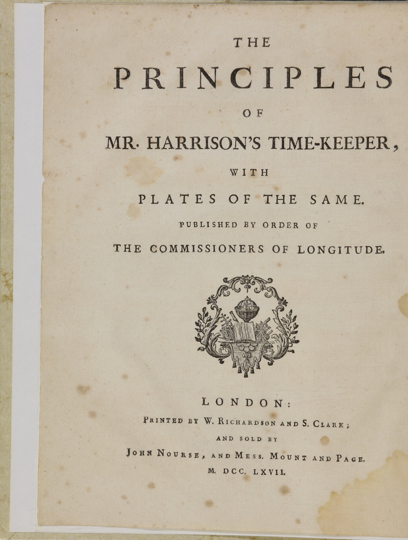 Principles of Mr. Harrison's Timekeeper (French edition). PBA1740.
