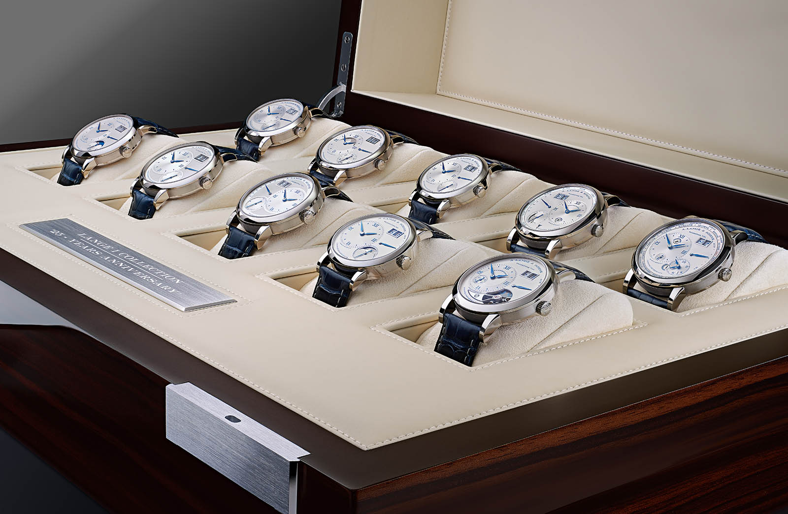 "The complete set of the A. Lange & Söhne anniversary edition LANGE 1 ""25th Anniversary"", consisting of 10 models, in a specially made box."